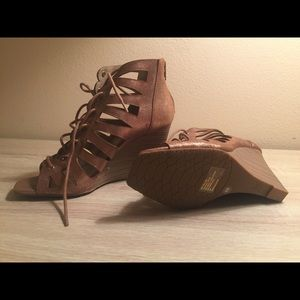 NWOT-INC Leather Gold Lace Up Wedge Sandals